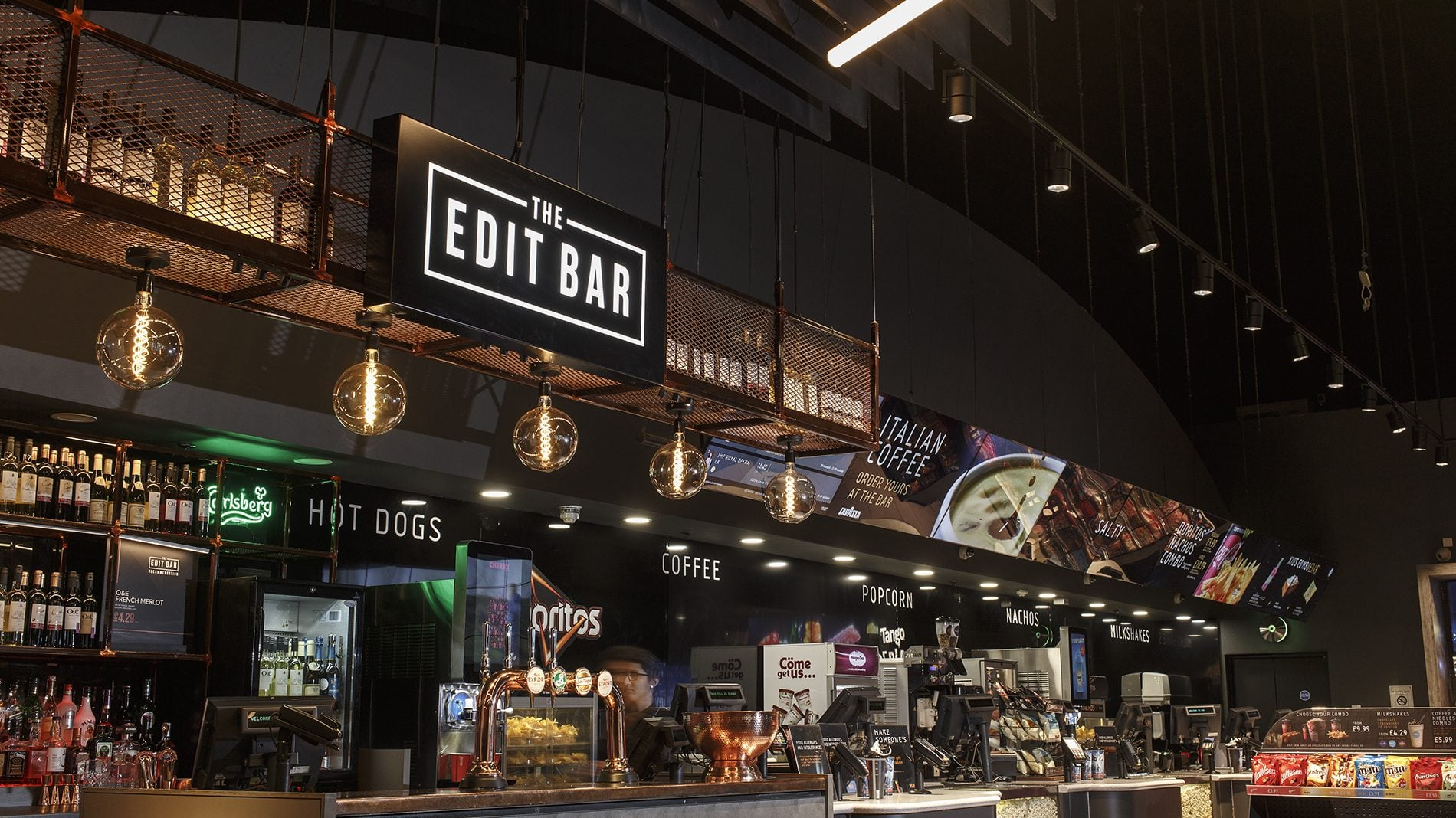 Signage for The Edit Bar, and refreshments at Vue Finchley road location
