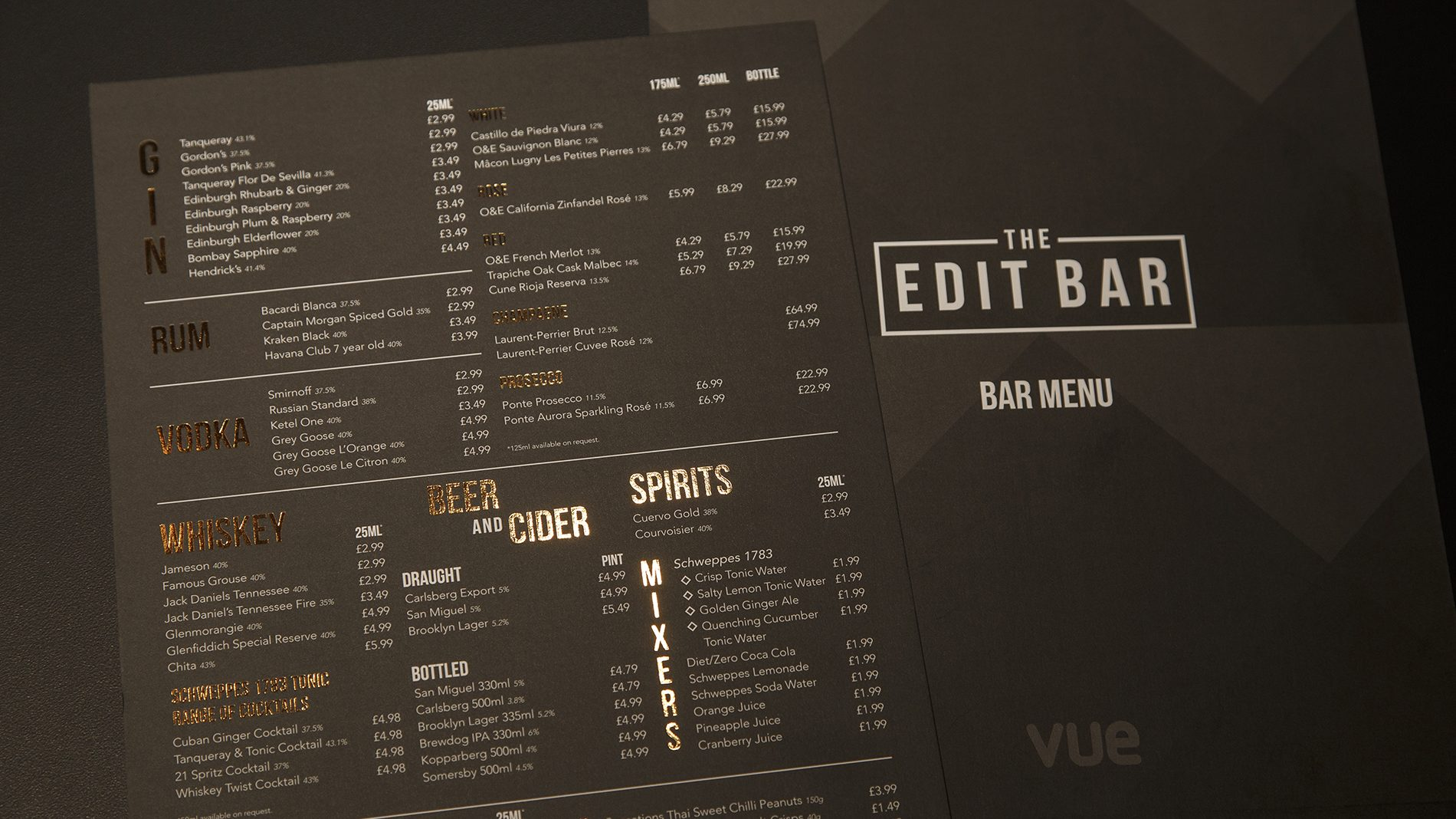 The Edit Bar drinks and snack menu at Vue