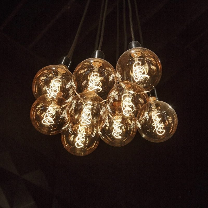 Cluster of vintage style light bulbs