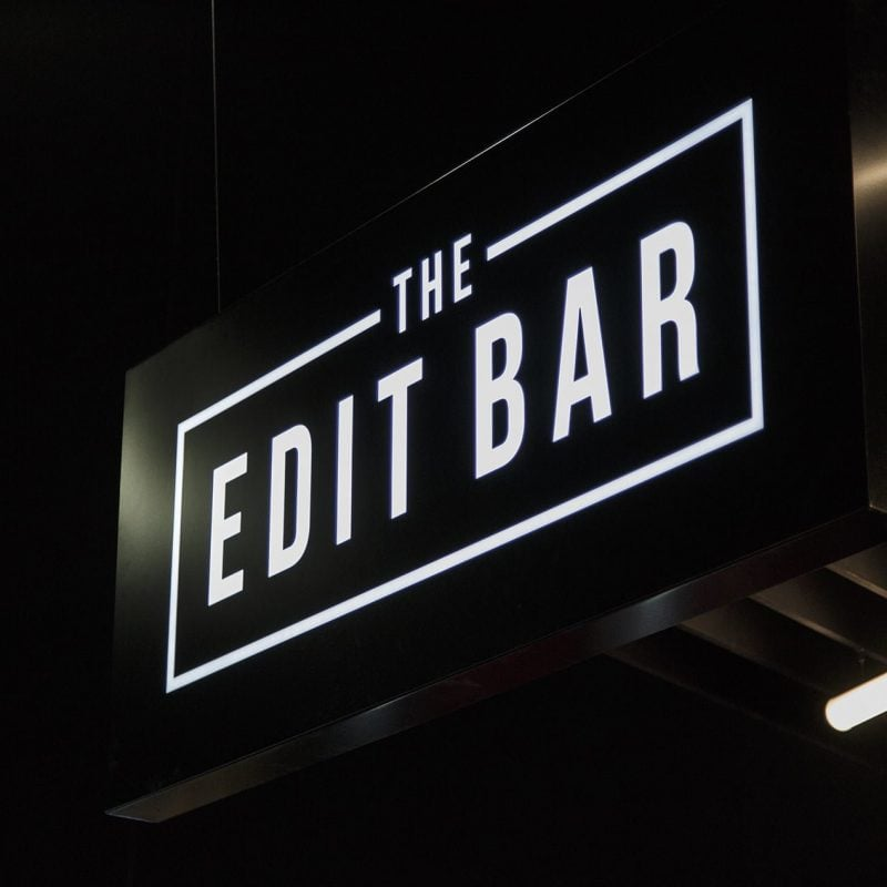 Illuminated sign for The Edit Bar