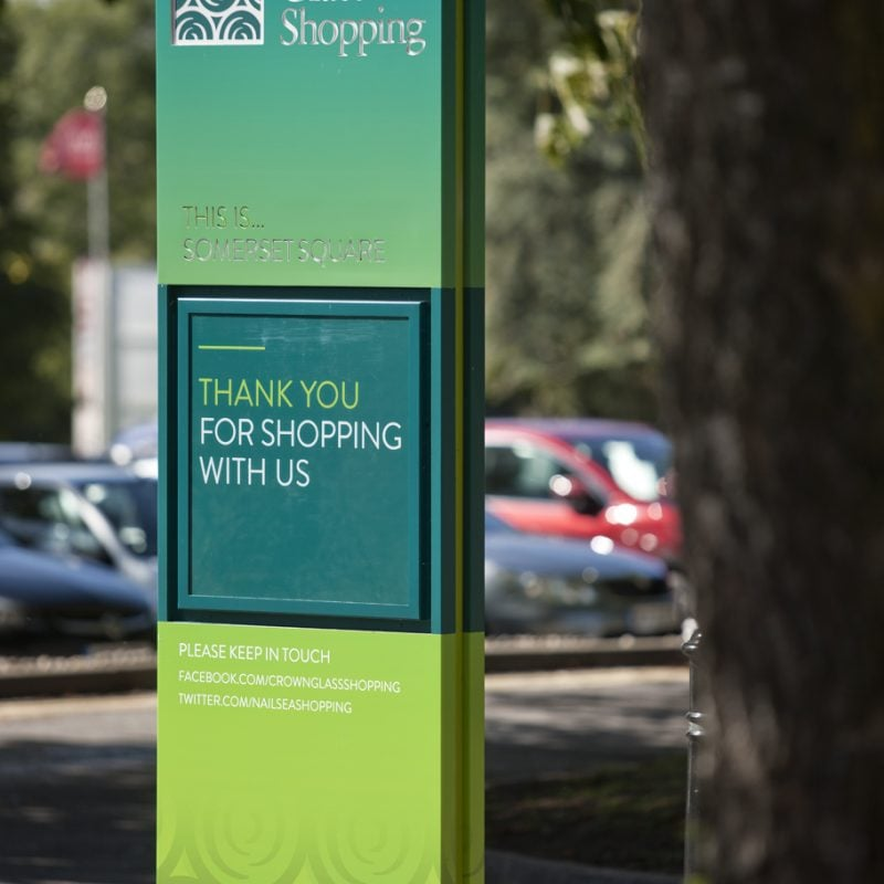 way-finding signage for crown glass shopping centre