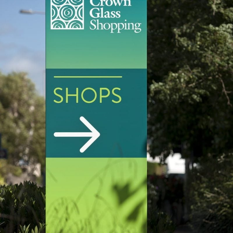 way-finding signage for crown glass shopping