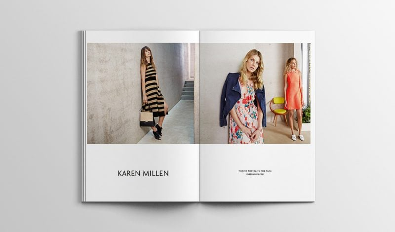 open magazine spread of karen millen fashion
