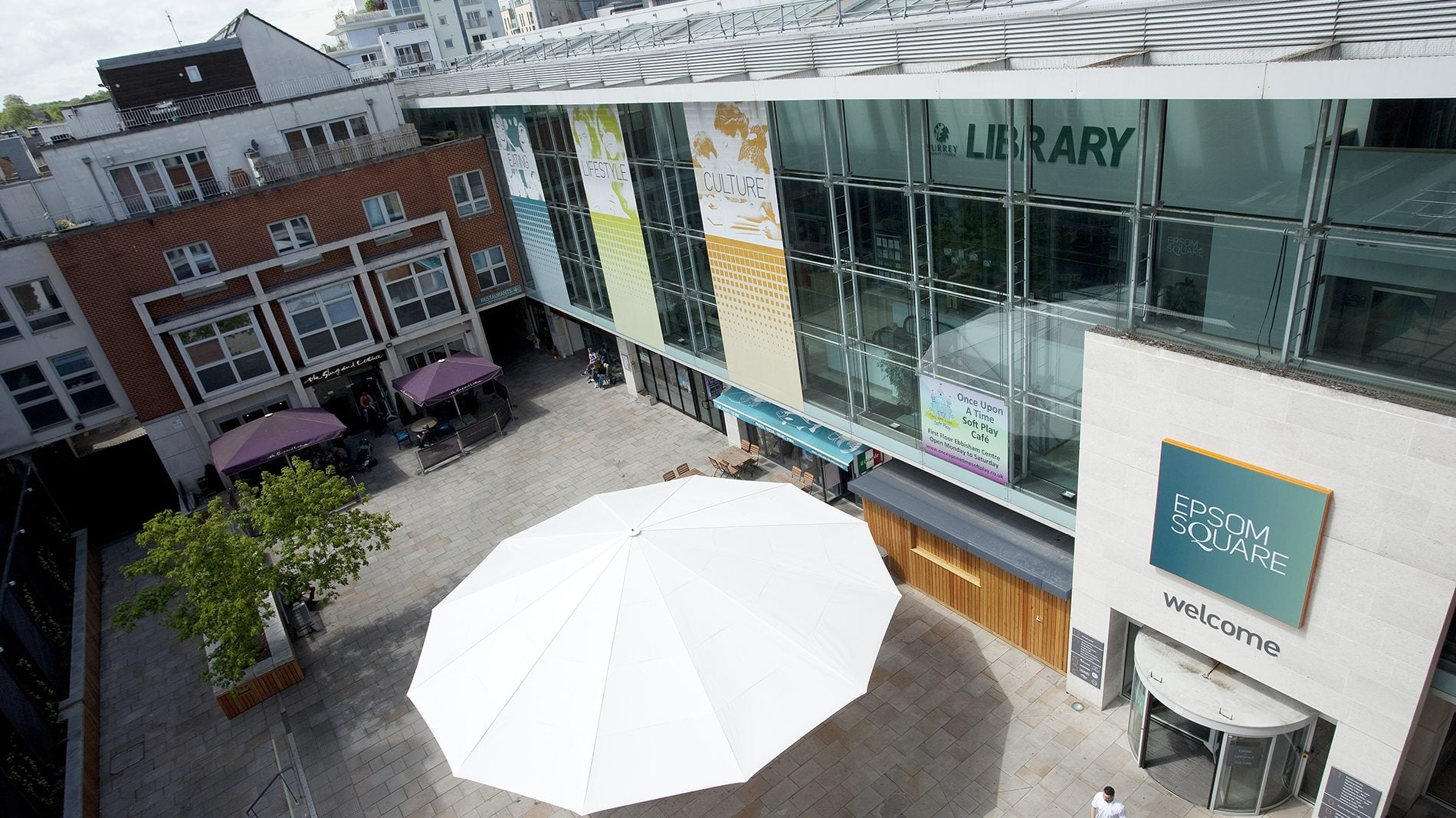 Roof top view of Epsom Square shopping centre courtyard