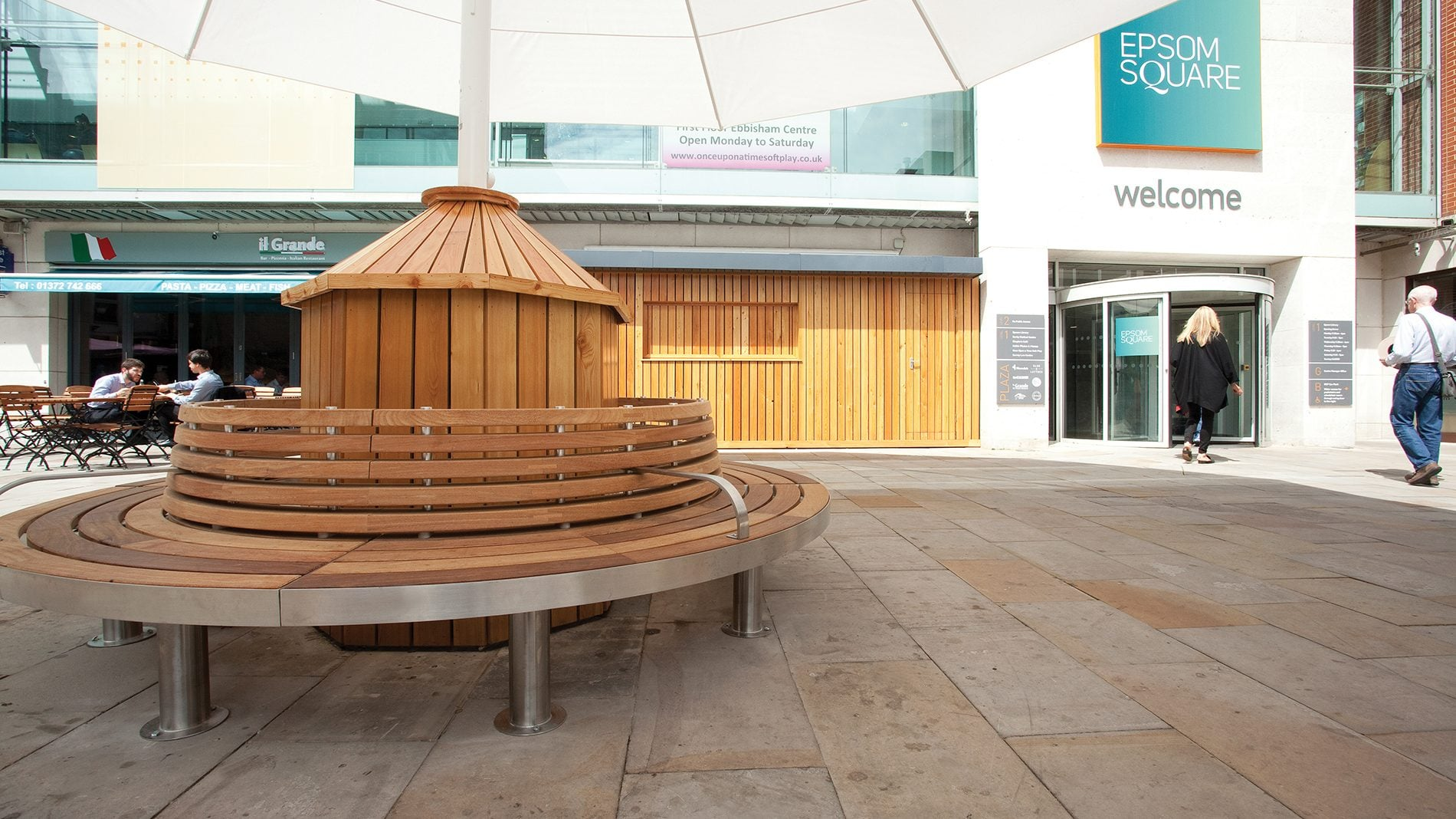 Epsom Square courtyard entrance with seating area