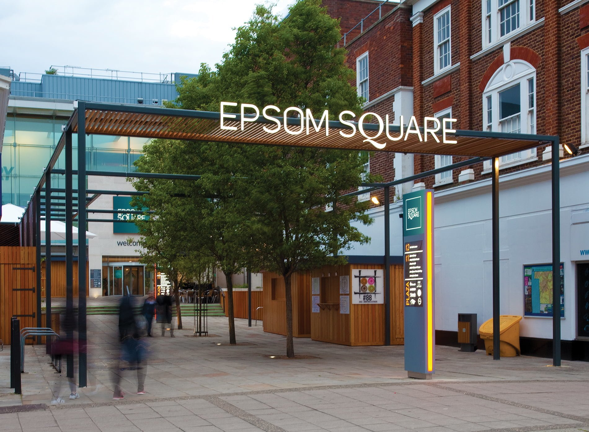 Epsom Square shopping centre exterior of entrance signage