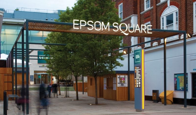 Exterior design of Epsom Square shopping centre entrance