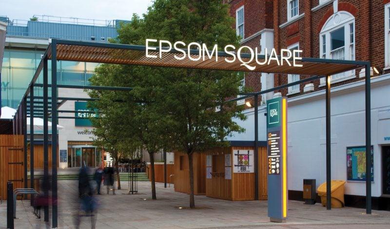 Exterior design of Epsom Square shopping centre entrance
