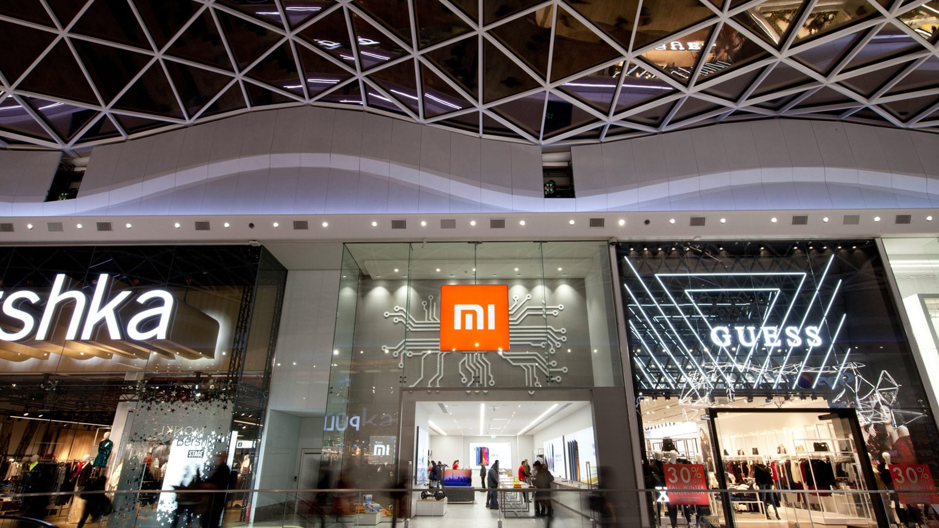 Facade of Xiaomi flagship Mi store and architecture of Westfields London
