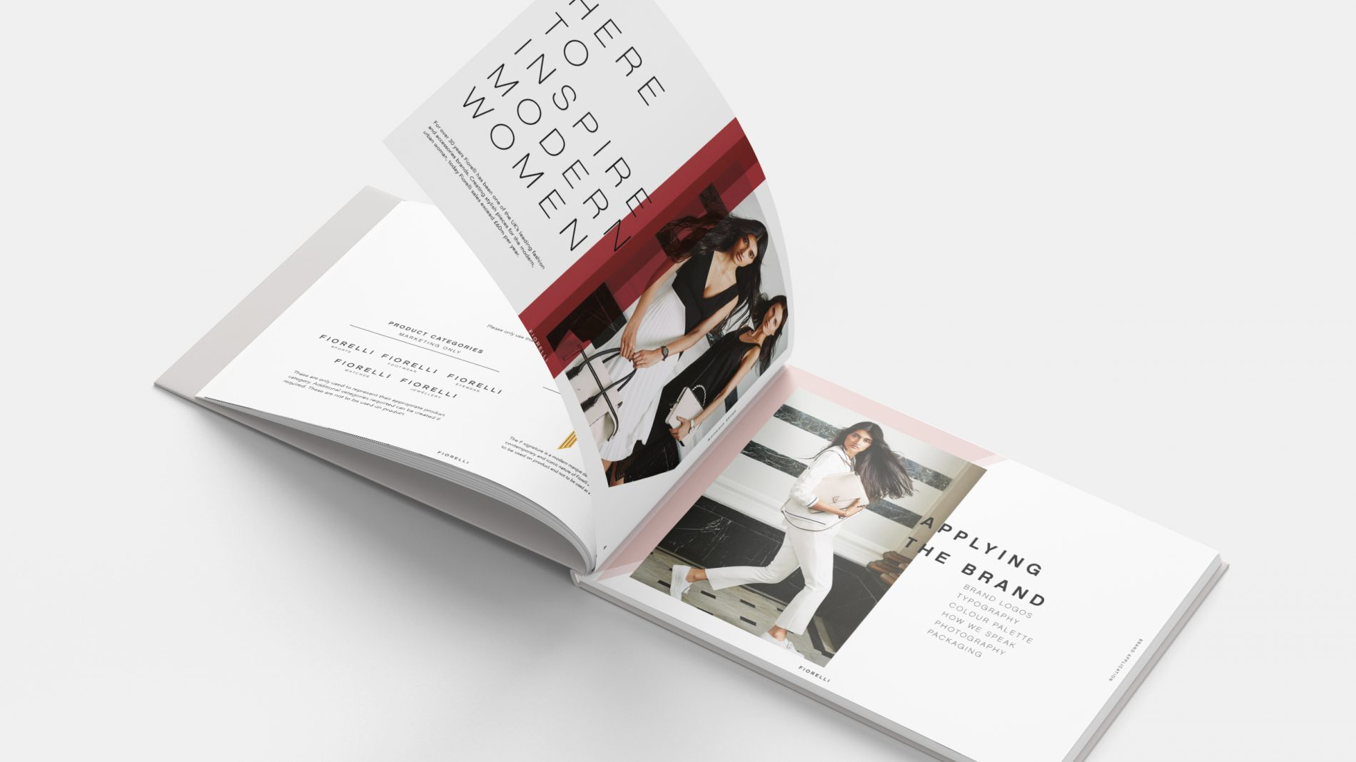 Open spread of fiorelli brand guidelines