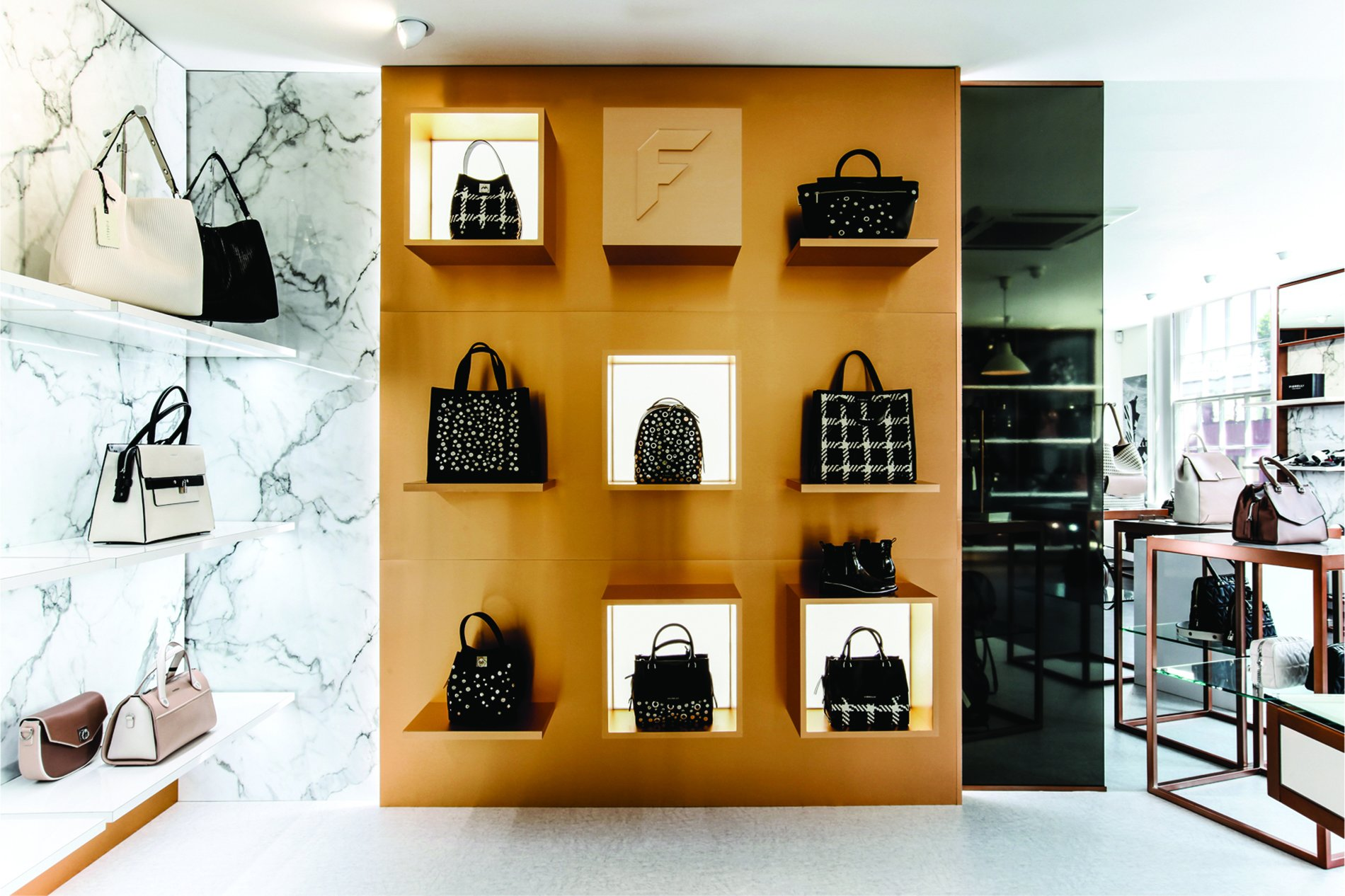 Handbag display in Fiorelli showroom