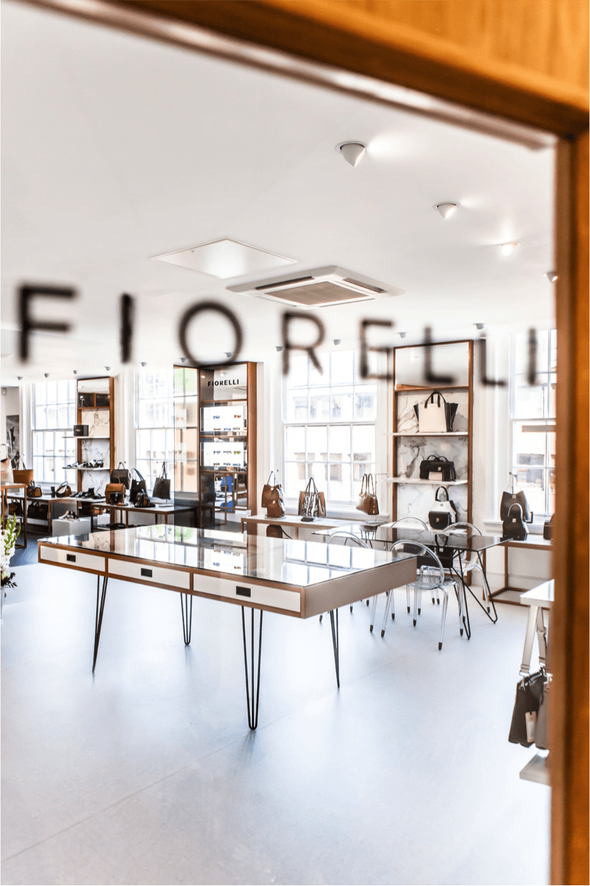 Mirror reflecting Fiorelli showroom of bag displays