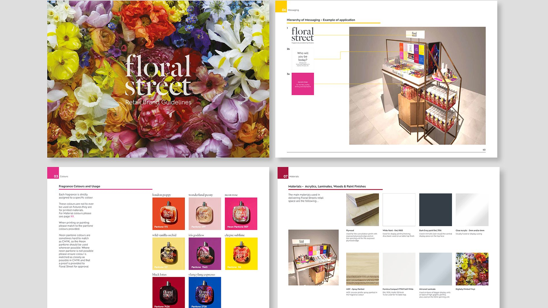 Flat-lay of 4 pages of Floral Street retail brand guidelines