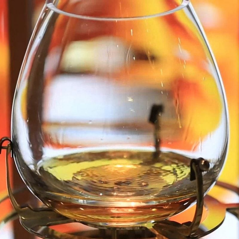 Close up of a glass of Glenfiddich whiskey