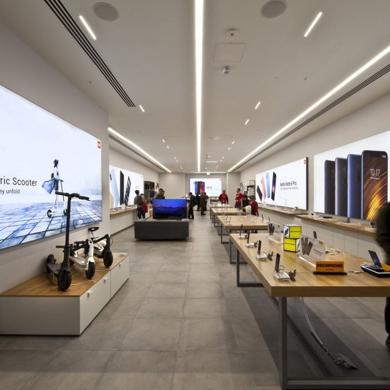 Interior design of Xiaomi Mi store in Westfield London