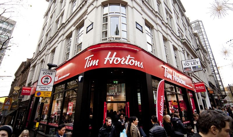 exterior of tim hortons coffee shop on busy pedestrian street