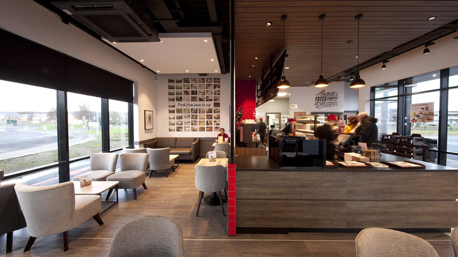 Interior design and wall graphics for Tim Hortons coffee shop