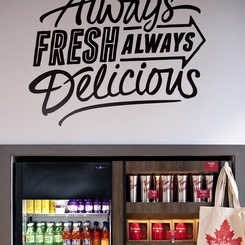 wall graphics and refreshments fridge at time hortons