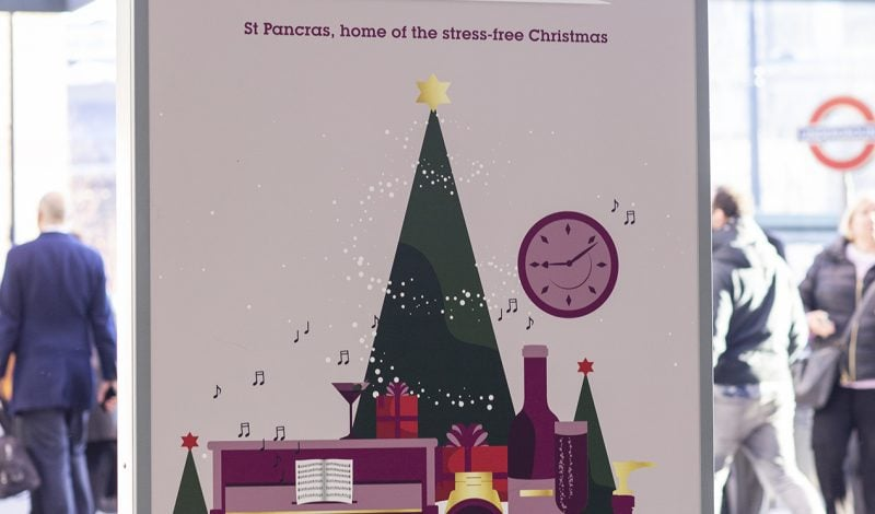 Christmas campaign POS graphics for HS1 in st pancras station