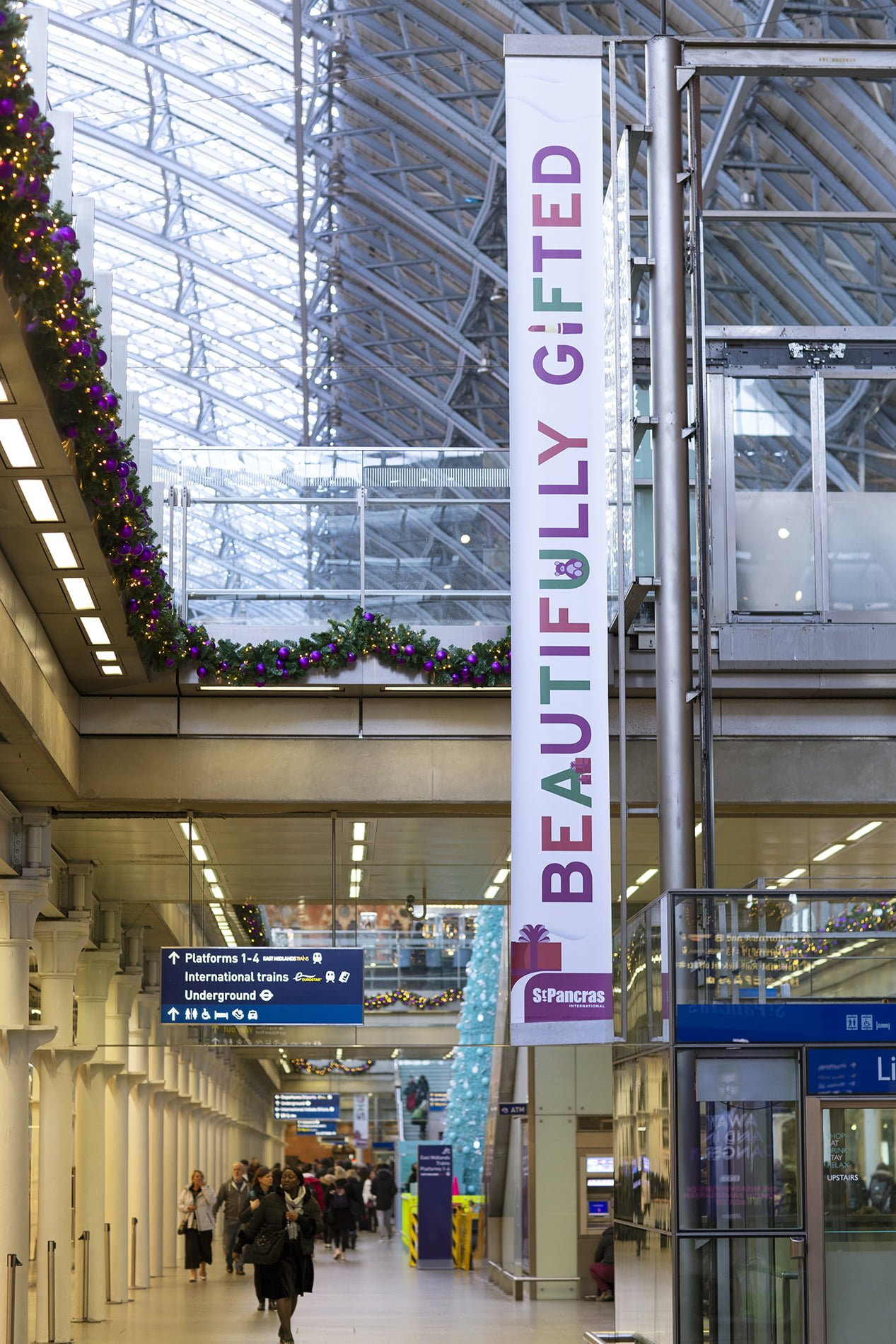 Christmas campaign graphics for HS1 in st pancras station
