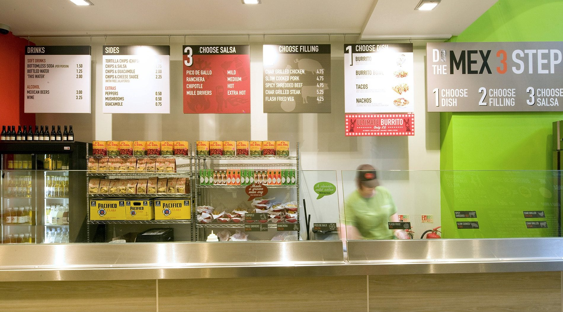 food counter at Barburrito restaurant