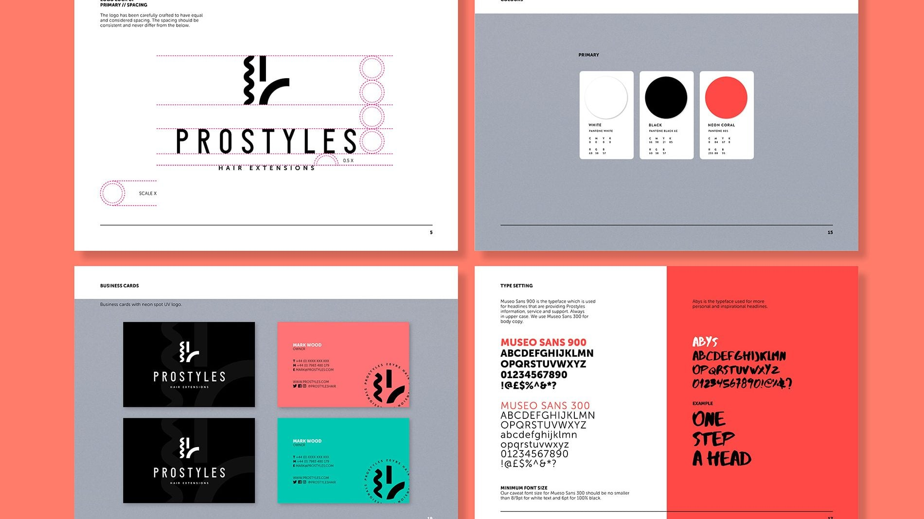 flat-lay of 4 pages from the prostyles brand guidelines created by beyond london