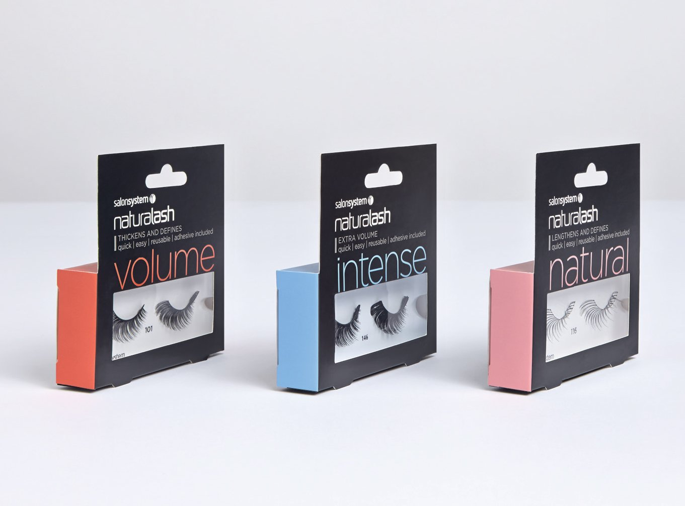 3 packs of naturalash eyelashes from salon systems, branding and packaging by beyond london