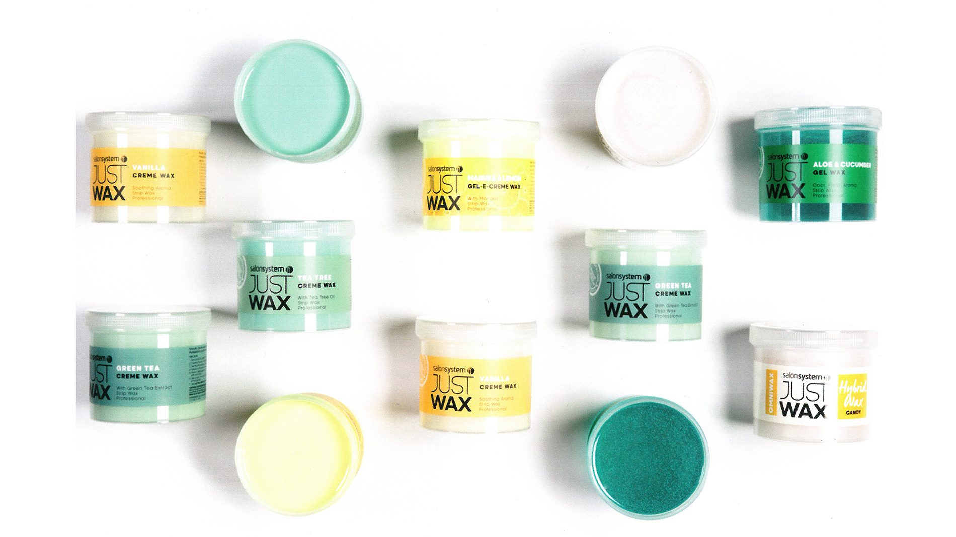pots of justwax from salon systems, packaging designed by beyond london