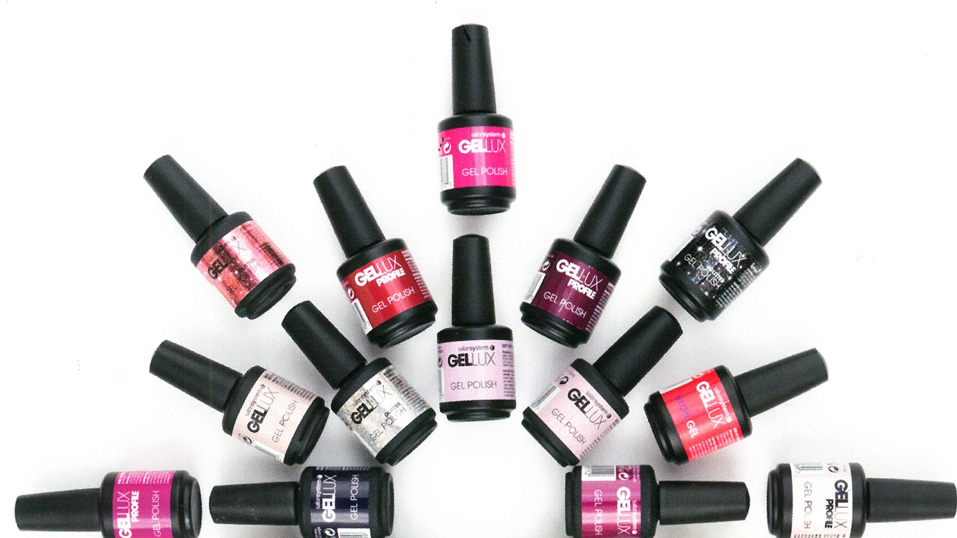 bottles of gellux nail polish by salon systems