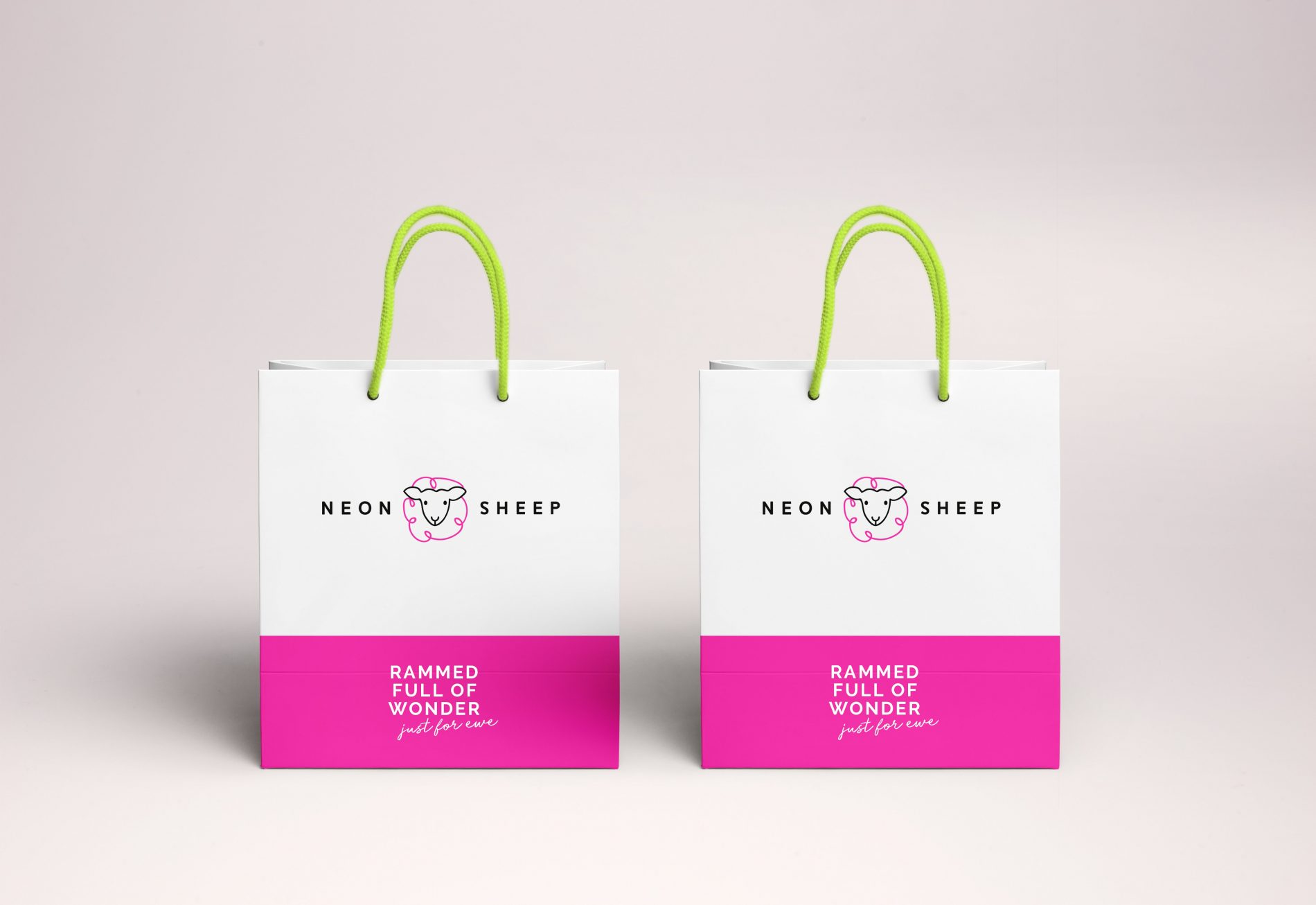Branded Neon Sheep shopping bags reading 'rammed full of wonder'