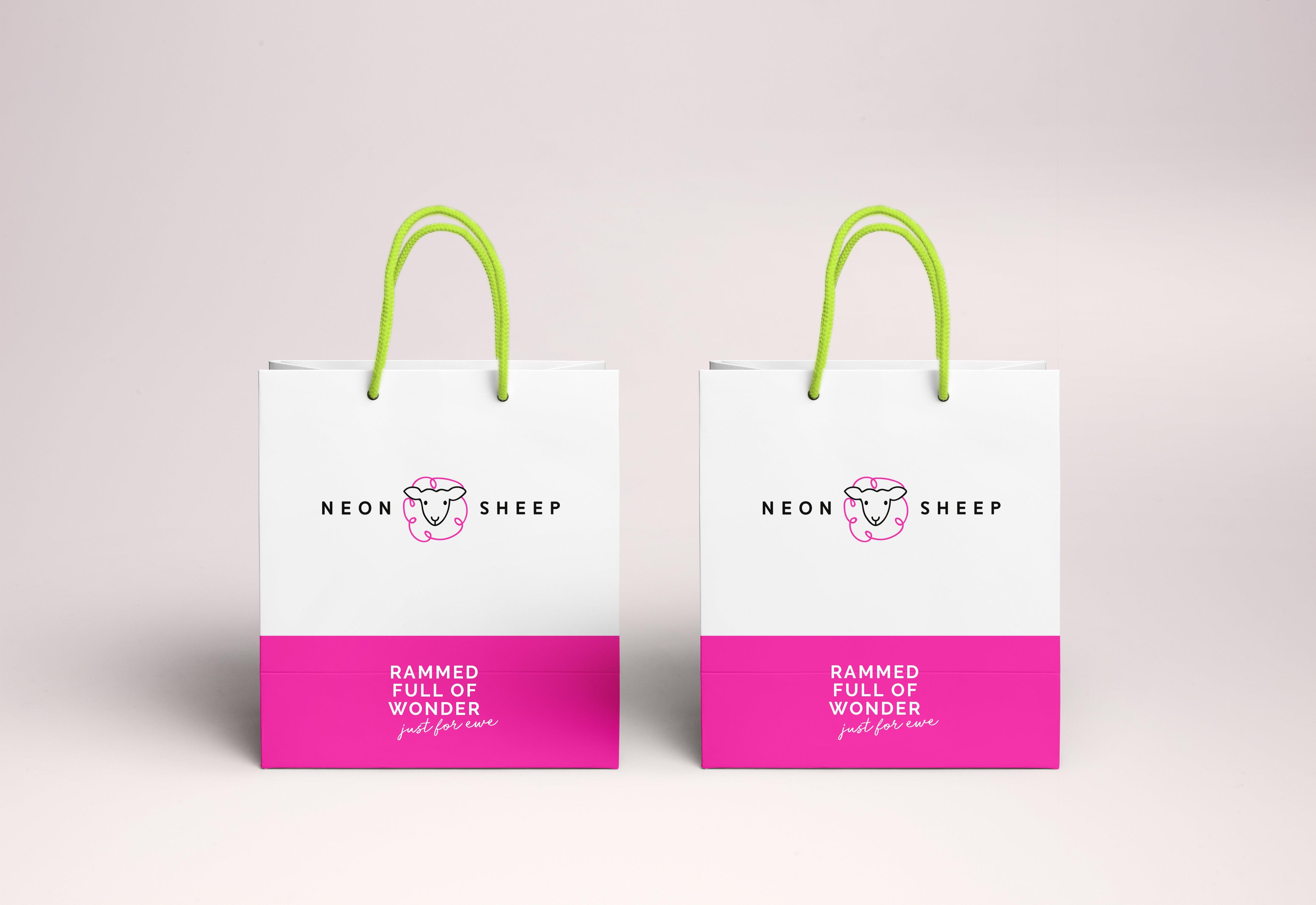 beyond london Neon Sheep branding packaging bags