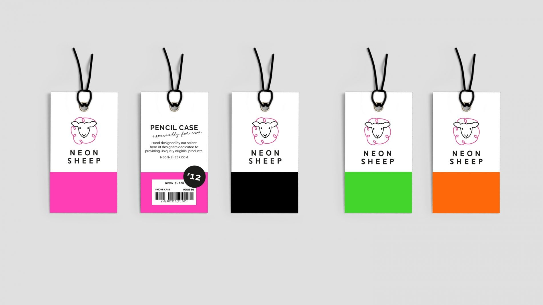 Flat-lay of 5 Neon Sheep product tags