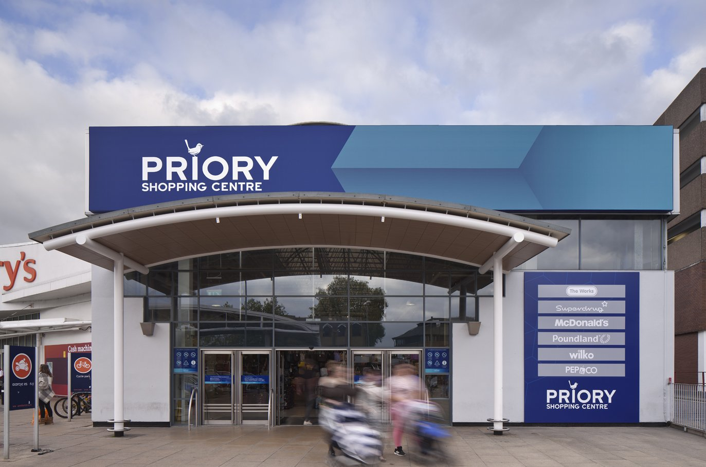 Exterior design of the entrance to Priory shopping centre
