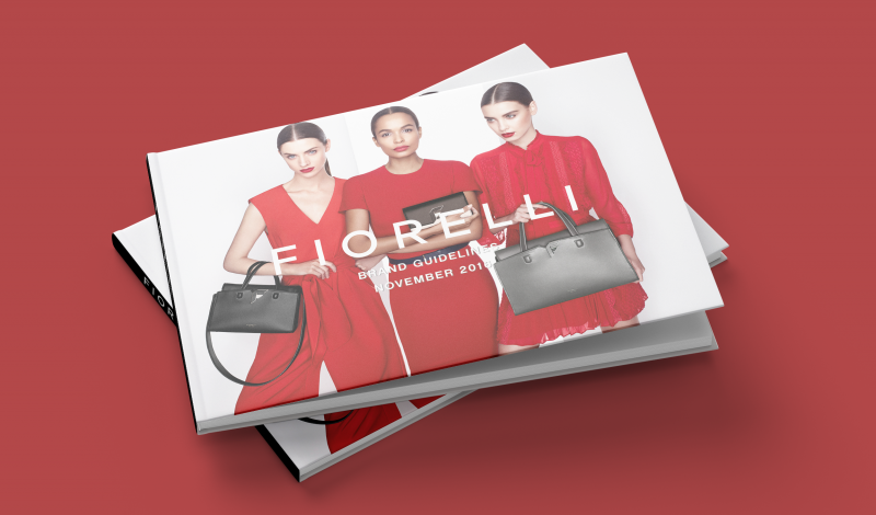 Fiorelli brand book cover with red background
