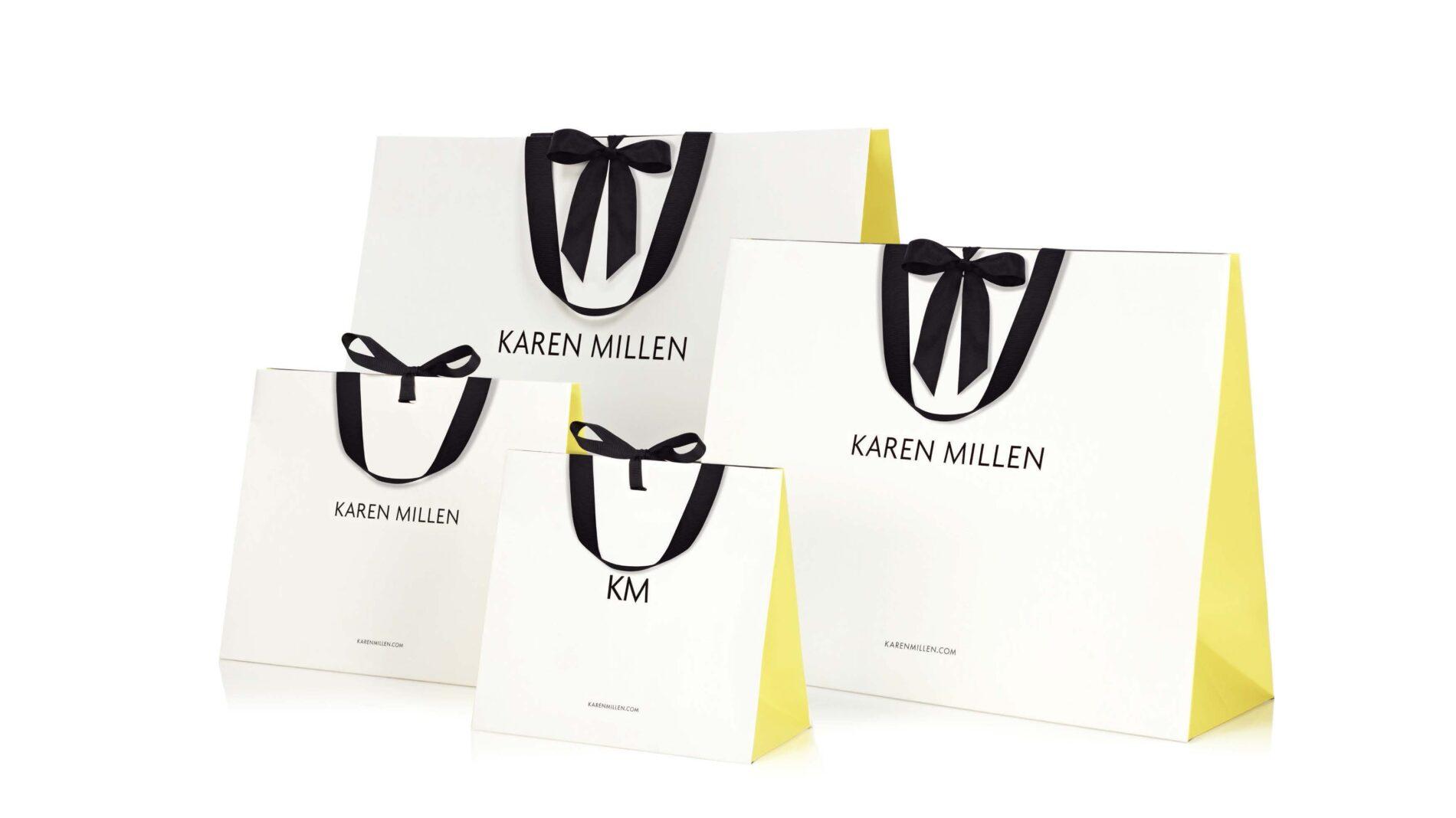 4 Karen millen shopping bags of different sizes