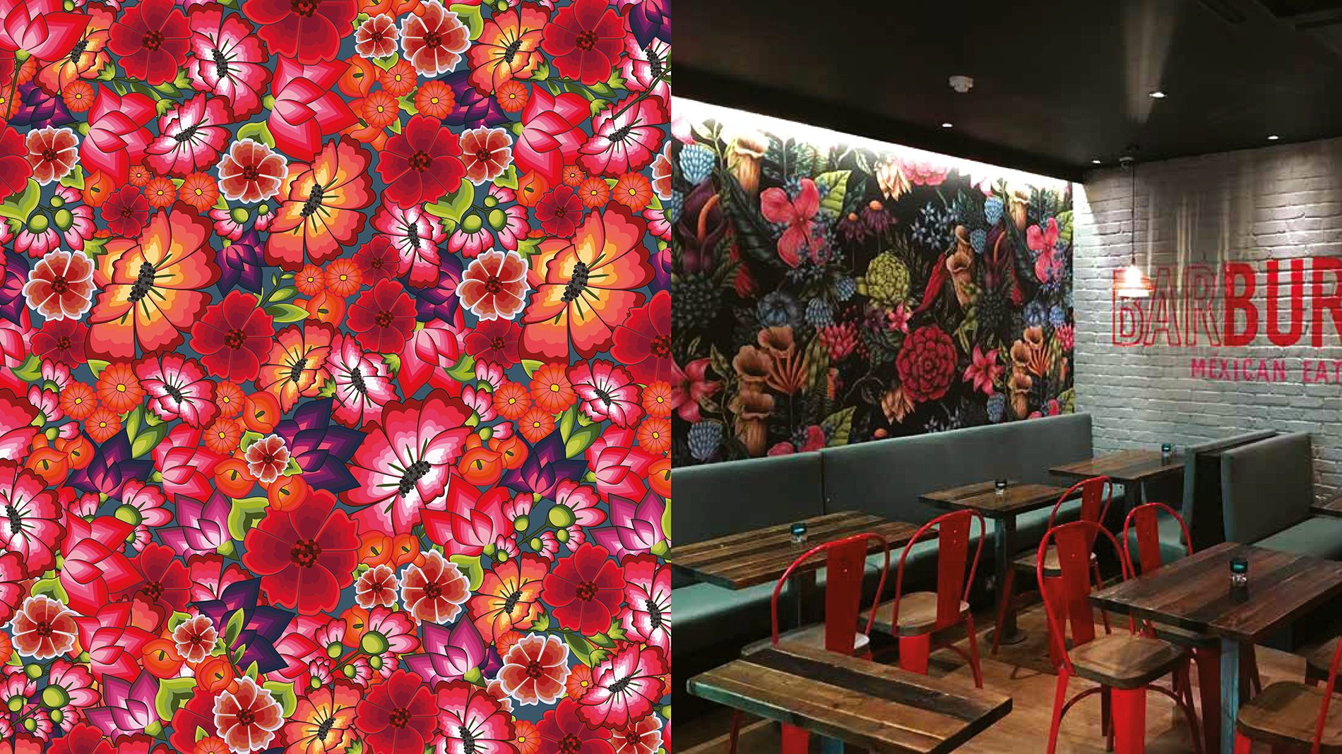 colourful floral graphic incorporated into retail design