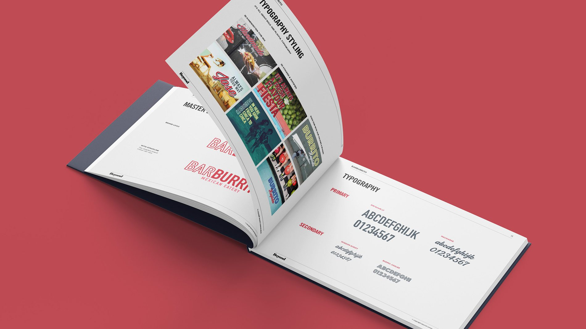 open page spread of brand guidelines