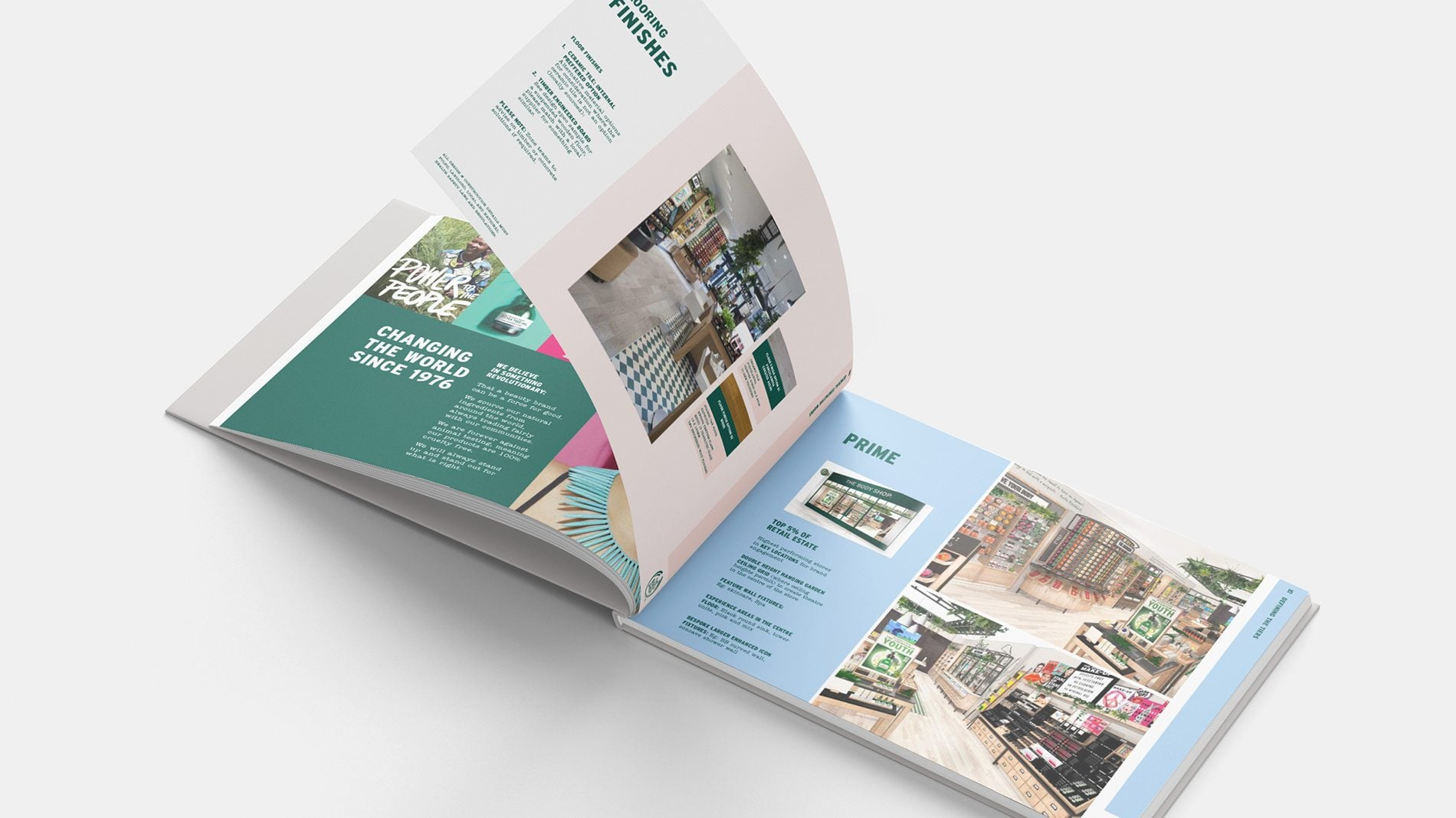 open spread of the body shop retail design guidelines