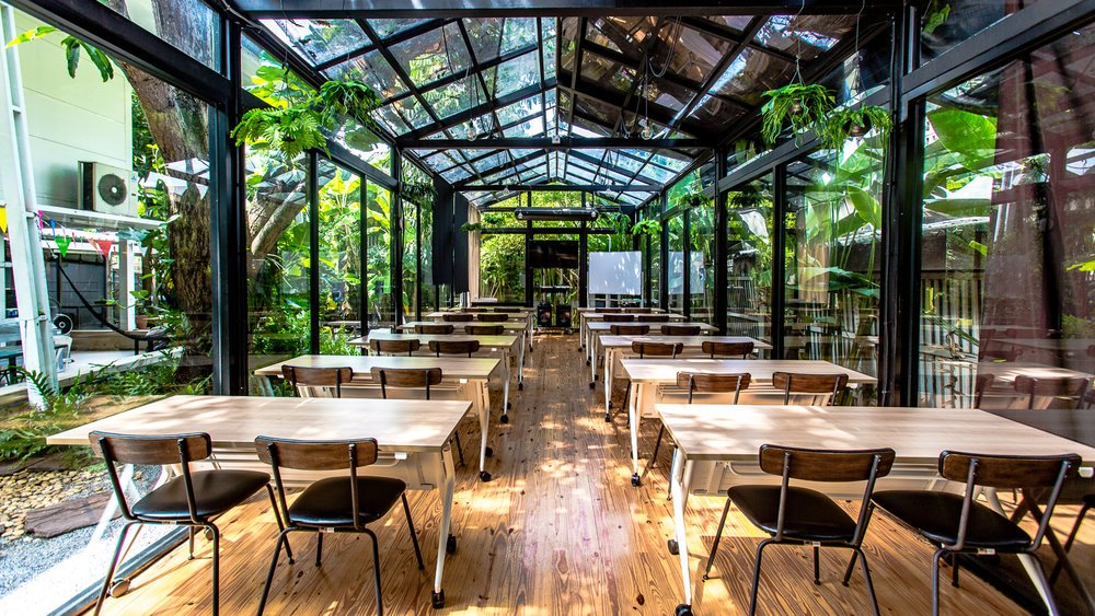 Green house style coworking space at Habito shopping centre, Bangkok, Thailand