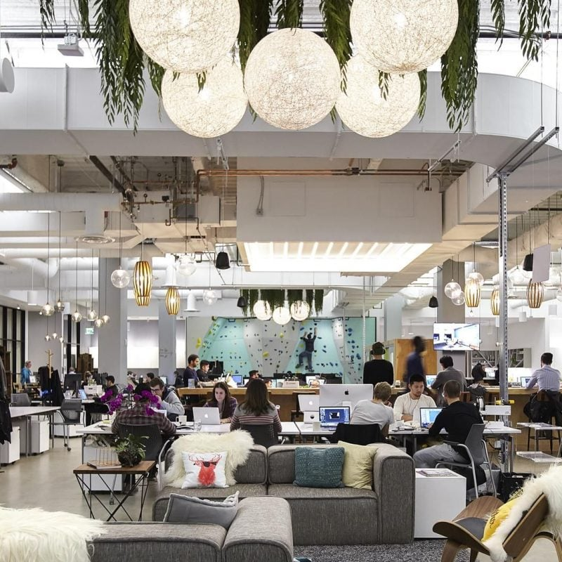 Interior of coworking hub at Westfield Shopping Centre in San Francisco