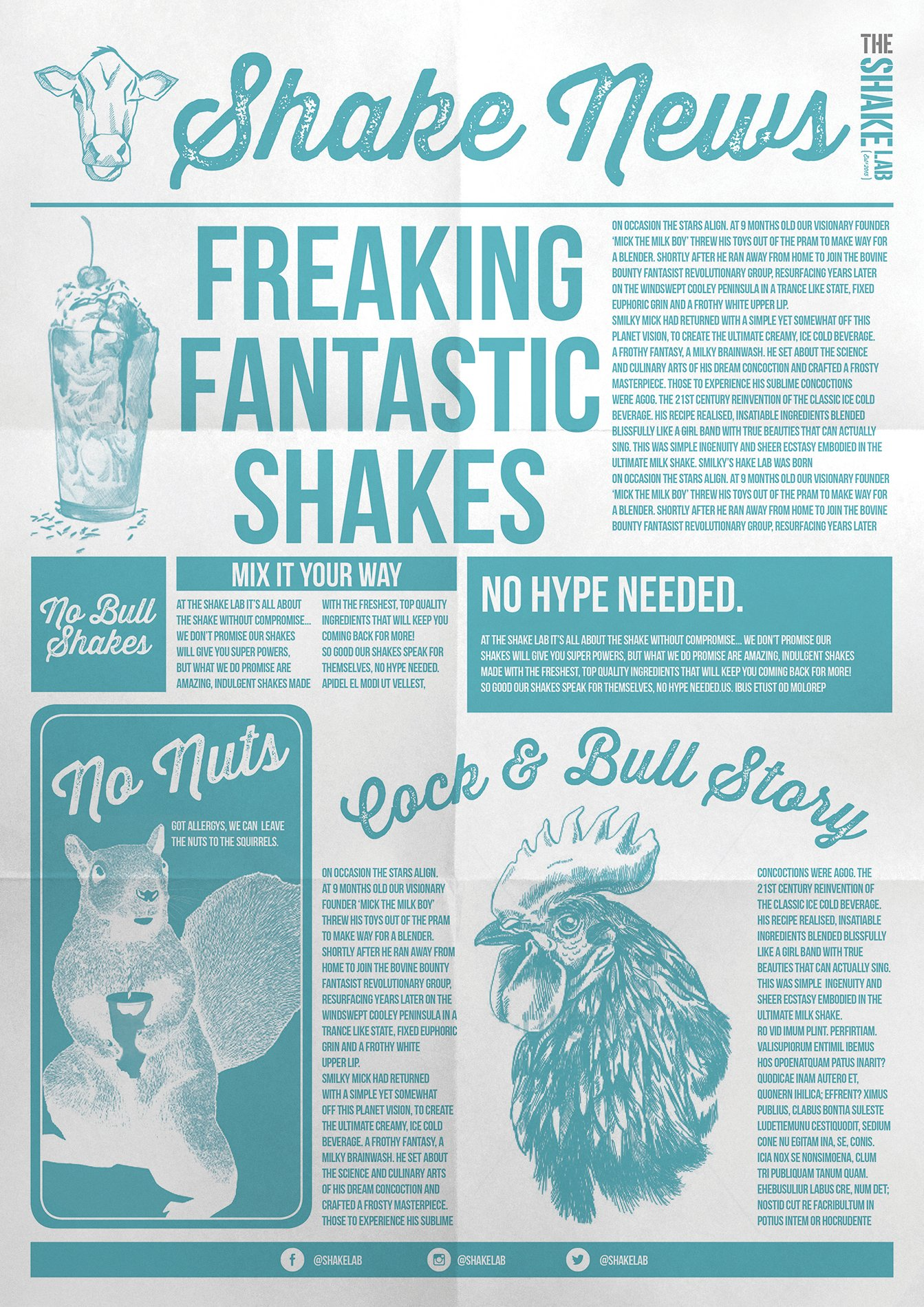 The Shake Lab branded newspaper style graphics with illustrations