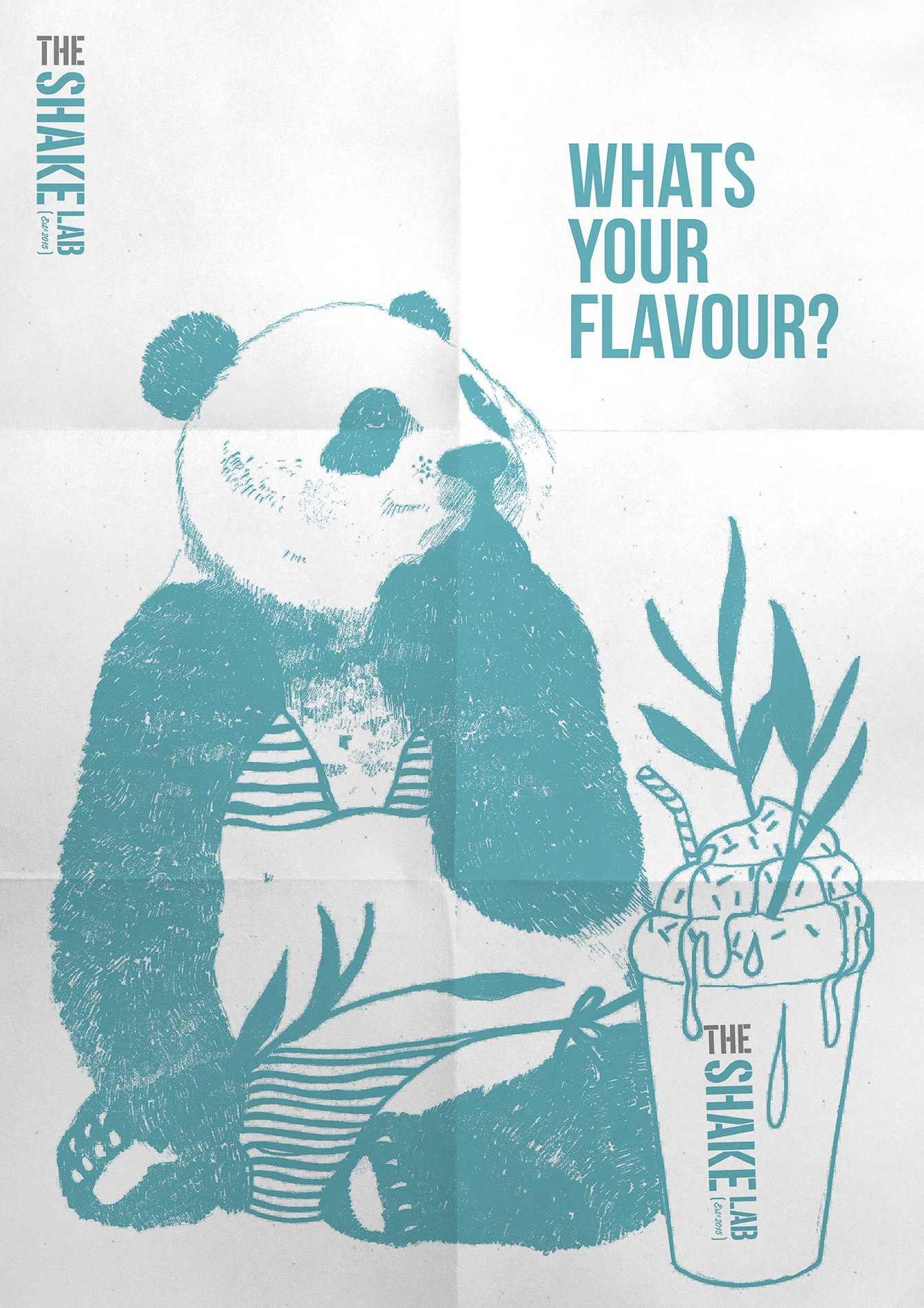 newspaper style poster of a panda for the shake lab milkshakes