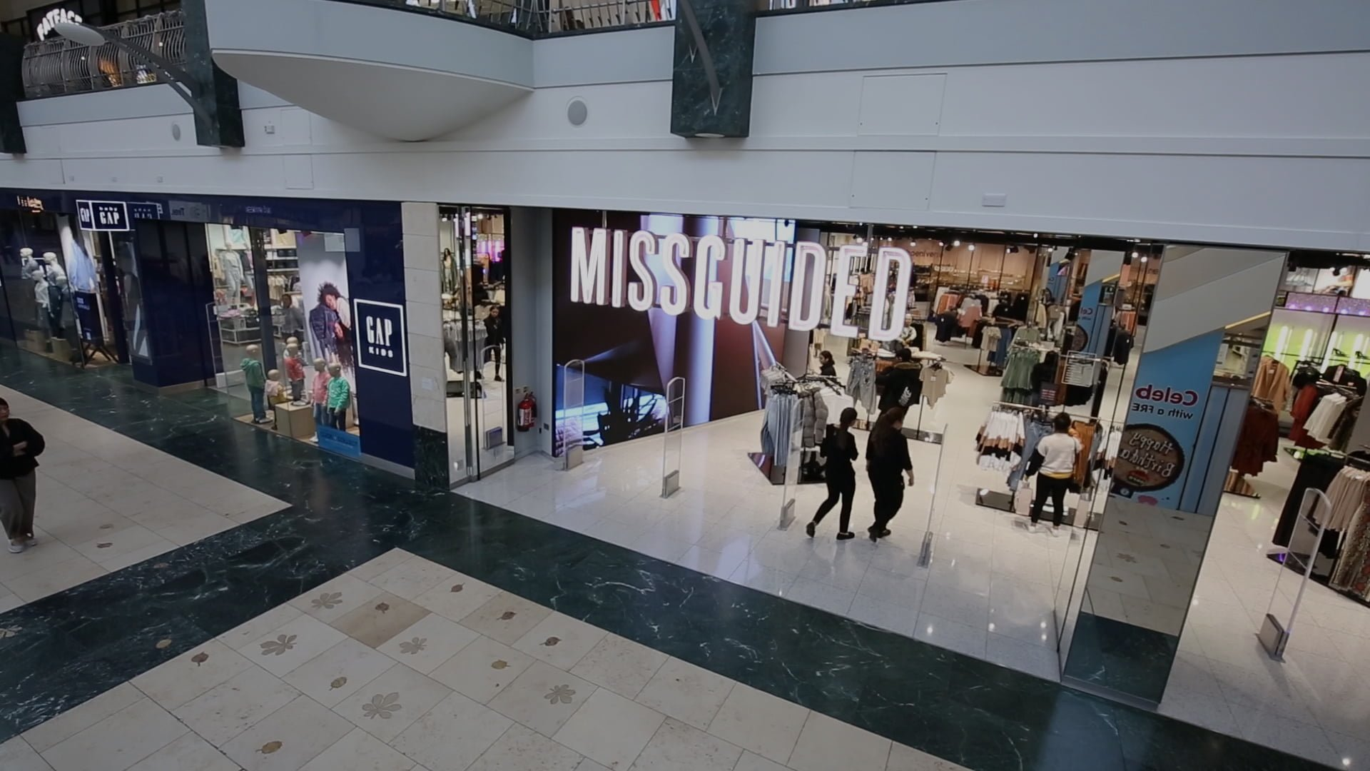 missguided store front implemented by our retail design management team at bluewater