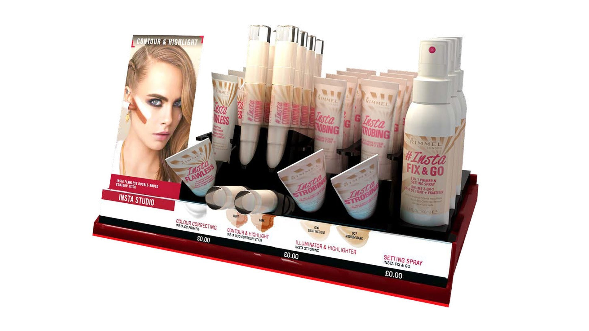 retail design makeup shop unit for rimmel
