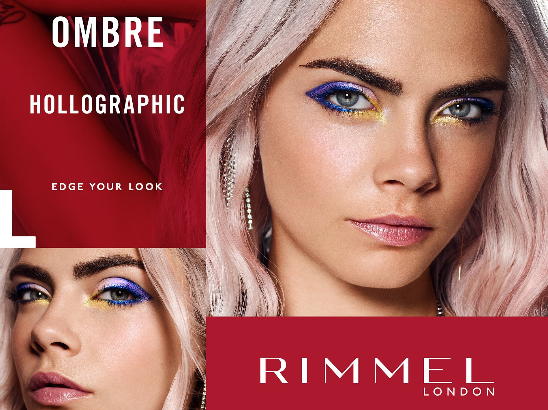 women modelling rimmel london ombre hollographic make up