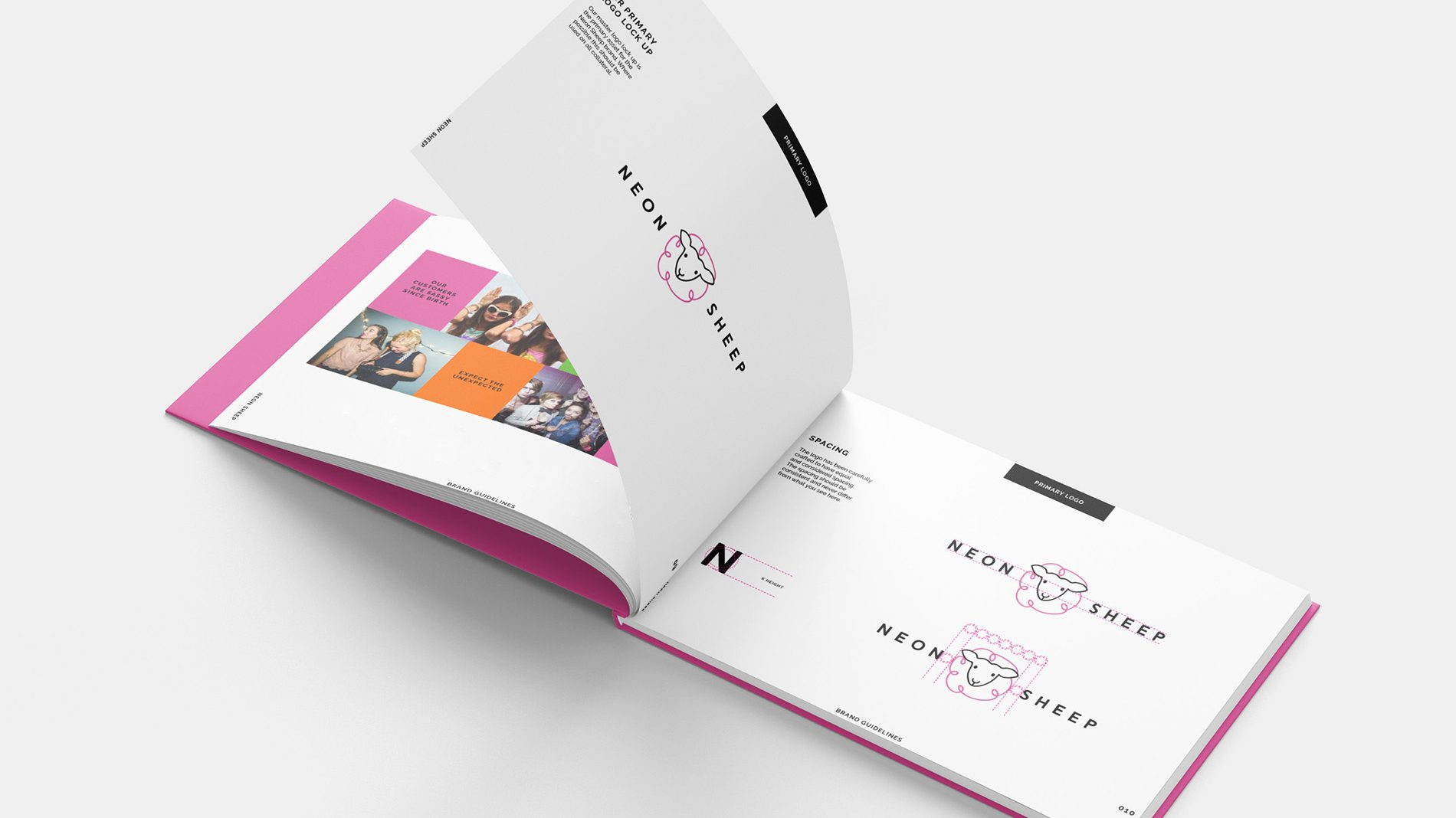 open spread of neon sheep branding guidelines