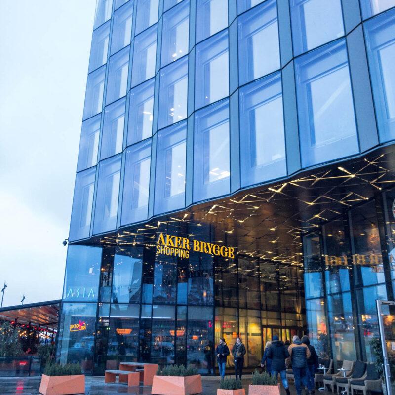 Aker Brygge shopping centre entrance in Oslo