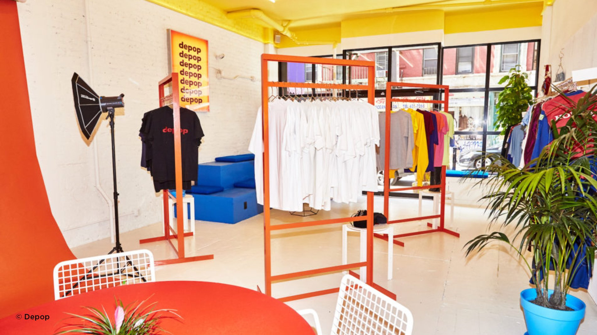 The bright colours of Depop's first brick and mortar store and showroom