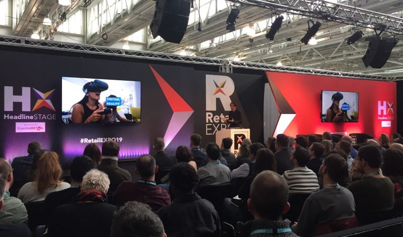 speaker on the stage at Retail EXPO 2019