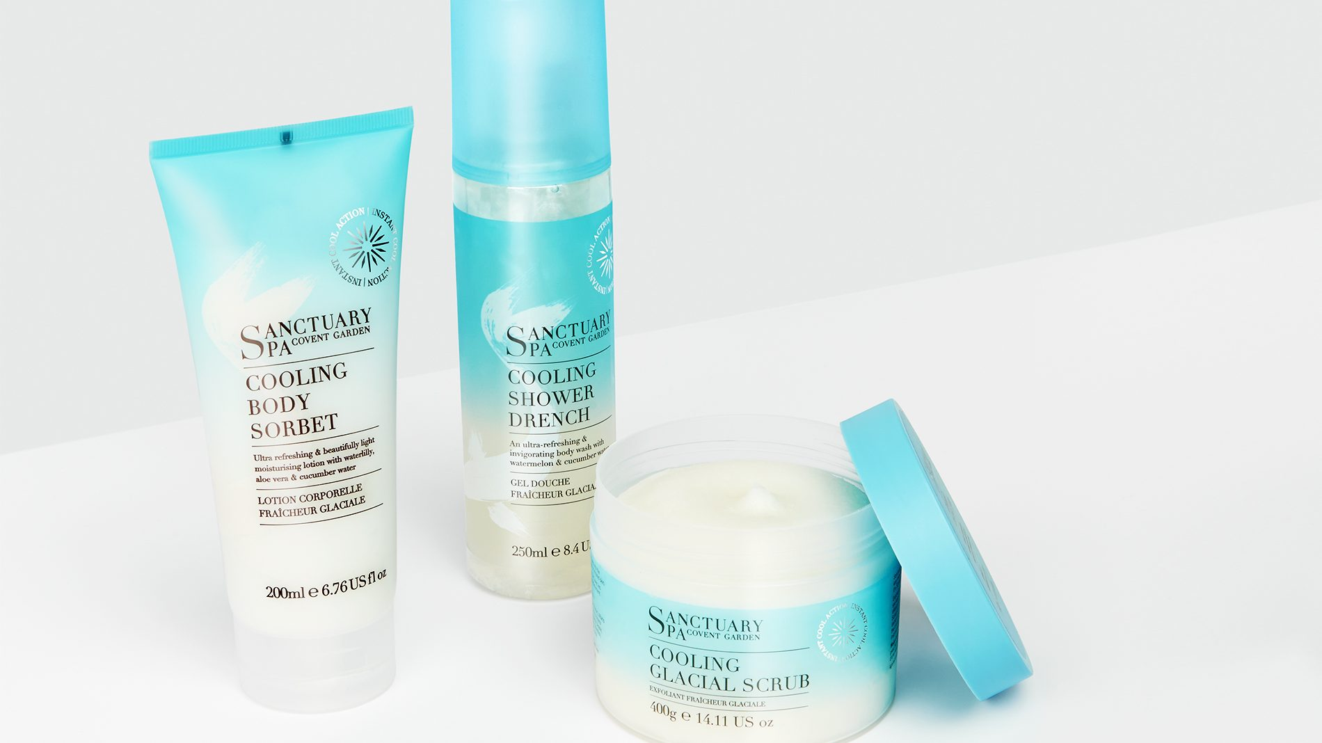 blue packaging for sanctuary spa bodycare range